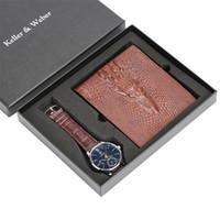 männlicher geschenkset großhandel-Herrenuhr Braun Leder Brieftasche Geschenkset für Herren Business Quartz Armbanduhr für Vater Freund