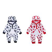 urso de pijama animal venda por atacado-Recém-nascido animal com capuz macacão legal infantil urso pijamas mangas compridas outono primavera romper playsuit macacão de roupas infantis