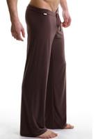 gevşek pijama toptan satış-Toptan-Erkek uyku dipleri eğlence seksi pijama Bornoz erkekler yoga uzun pantolon Spor Pijama Pantolon Uzun John rahat Gevşek pantolon