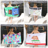 Wholesale Cotton Polyester Blanket - Beach towel letter animal design microfiber swimming blanket women's swim trunks print adult cotton outdoor bath towel GGA228 10pcs