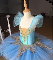 erwachsene schwan kostüm großhandel-2018 Hellblau Kinder Schwanensee Kostüm Erwachsene Ballett Trikot Kid Ballett Kleid Professionelle Tutus Kleid für Mädchen
