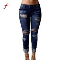 frau jeans zerstört großhandel-Feitong 2017 Frauen dünne Jeans Zerrissene Holes-Denim-Hosen mit hoher Taille Stretch dünne zerstörtes Knie Bleistift-Jeans Weibliche Hose