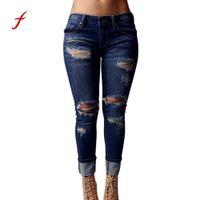 jeans de mujer destruidos al por mayor-Feitong 2017 mujeres Skinny jeans rasgados Agujeros Pantalones vaqueros de talle alto estiramiento delgados rodilla destruido vaqueros del lápiz los pantalones femeninos