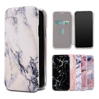 Wholesale iphone bumper card - Premium Marble Design Wallet Case Slim Phone Cover Shall Soft TPU Bumper Card Slot for iPhone X 8 7 Samsung S9 S9 Plus