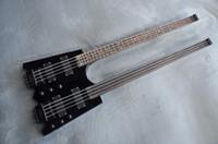 cuerdas de guitarra sin cabeza al por mayor-Guitarra Headless de calidad superior Double Neck 4 cuerdas Guitarra Eléctrica 4 cuerdas bajo
