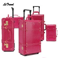 ingrosso valigia valigia viaggio valigia-Letrend Vintage Valigia Ruote Rolling Luggage Set Retrò Trolley cabina in pelle Trolley Trasportare bagaglio da viaggio Portamonete da donna