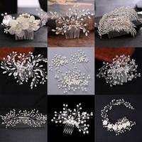 diadema reina corazones al por mayor-Muchos estilo de plata perla Rhinestones boda peine del pelo para mujeres joyas de pelo de cristal hechos a mano novia tocado accesorios para el cabello