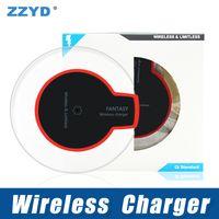 pad de recharge sans fil s6 achat en gros de-ZZYD Qi Pad sans fil chargeur avec câble USB Dock chargeur de charge pour Samsung S6 S7 iP 8 X