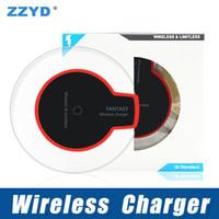 usb für drahtloses ladegerät samsung großhandel-ZZYD Qi Wireless Ladegerät Pad mit USB-Kabel Dock Ladegerät für Samsung S6 S7 iP 8 X