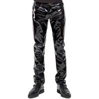 açık delik iç çamaşırı toptan satış-Erkek Iç Çamaşırı Wetlook Slim Fit Parlak Patent PVC Deri Lateks Gece Kulübü Parti Sıkı Pantolon Tayt Pantolon Açık Penis ile Delik