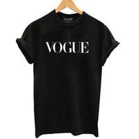 vogue casual toptan satış-100% pamuk vogue mektubu baskılı kadınlar nefes tshirt casual kadın tişörtlü o-boyun kadın tee gömlek tops