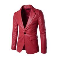 blazers de couro vermelho venda por atacado-Novos Homens De Couro 1 Botão Ternos Formais Se Vestem Moda Homem Blazers Casaco Sólido Vermelho, jaqueta de jaqueta de couro masculina, Magro Casaco Masculino