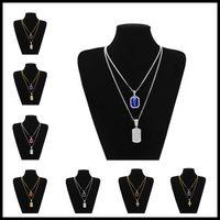 Wholesale women choker sets online - 27 Designs mm inches inches Hip Hop Jewelry Set Square Gemstone Pendants Choker Chains Necklaces Accessories for Women Men
