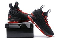 Wholesale Card Sized - 2018 LeBron 15 University Red For Sale Basketball Shoes Sneakers james 15 Men Shoes Sport lbj 15 size 7-12