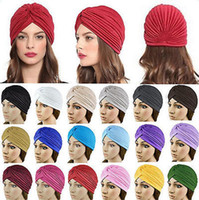 Wholesale Skull Hair Tie - Indian Style Yoga Headwrap Caps Turban Hat Cloche Chemo Hair Cover Arabian Head Wrap Cap men women terylene skull hats girl hat YYA1030