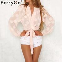 polca de gasa blusas al por mayor-BerryGo V cuello blusa de gasa de lunares mujeres Sash casual thirt blusa de manga larga 2018 verano elástico transparente sexy