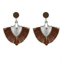 hohe ohr ohrringe großhandel-Europa und die Vereinigten Staaten Mode fächerförmigen Quaste Ohrringe Frauen hochwertige böhmische Ohrschmuck übertrieben Modeschmuck Fashio