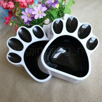 Wholesale feeder singles for sale - Group buy Puppy Cat Paw Footprint Food Water Bowl Pet Plastic Universal Black Feeder Basin Single Dog Bowls AAA772