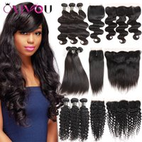 Wholesale brazilian hair - Brazilian Virgin Kinky Curly Human Hair Weave Bundles with Closure Straight Body Deep Water Wave Bundles with Frontal Hair Vendor Extensions