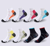 Wholesale nylon compression socks resale online - Breathable Compression Ankle Socks Anti Fatigue Plantar Fasciitis Heel Spurs Pain Short Socks Running Socks For Men Women Accessories