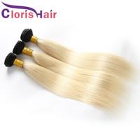 bakire saç demetleri 613 ombre toptan satış-Koyu Kökleri Sarışın Ombre Düz Demetleri Brezilyalı Virgin İnsan Saç Dokuma Ucuz Renkli 1B 613 Platin Sarışın Saç Uzantıları 3 adet Fiyatları