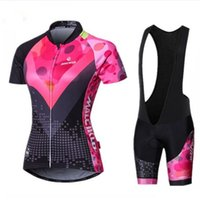 Wholesale women bike clothing - Women Cycling Clothing 2018 Race Cycling Clothes Pink Short Sleeve Summer Ropa Ciclismo MTB Bike kits Bicycle Jersey Sets girl