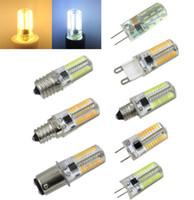 ingrosso luci g8-Confezione da 10, G4 / G8 / G9 / E11 / E12 / E17 / BA15D 3W 72-4014 24-3014 LED Lampadina di cristallo Lampadina equivalente Lampada alogena 50W AC 110 V / 220 V