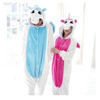 ingrosso pigiama unicorno blu-Blue Pink Unicorn Pigiama Onesies Inverno Kawaii Anime Felpa con cappuccio Pigiama Cosplay Costume Adulto Bambini Camicia da notte vestito