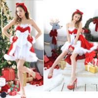 vestido de noiva sexy santa claus venda por atacado-Sexy Papai Noel Traje de Natal XMAS Mulheres Senhorita Papai Noel Vestido Doce Sexy Fancy Dress Alta Qualidade