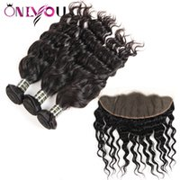 Wholesale women hair extensions - Unprocessed Mink Brazilian Hair Bundles with Frontal water wave human hair with closure Natural Wave Hair Extensions Just for black women