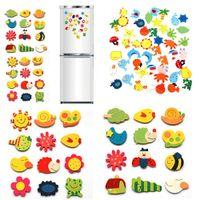 nevera ecológica al por mayor-12pcs fijan los imanes del refrigerador imán lindo del refrigerador de madera del animal de la historieta del bebé imán ecológico imanes para frigoríficos