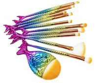 Wholesale chubby fishing - New 10 Pieces sets Little Mermaid Plating Makeup Brushes Eye Brush Fan Brush Makeup Tool With Single chubby Fish