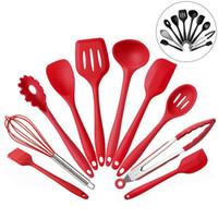 cucharas de cocina utensilios al por mayor-10 unids / set utensilios de cocina de silicona conjunto de cocina no pegajosa olla a prueba de calor cuchara cuchara cucharón espátula herramienta de cocina HH7-1018