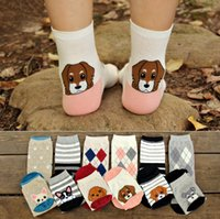 Wholesale stereo socks - Korea Style Stereo Dog Socks Women Big Girl 100% Cotton Cartoon Socking Middle tube socks top quality