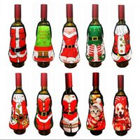 Wholesale indoor christmas decorations online - Small Apron bottle Wine Cover Christmas Sexy Lady Xmas Dog Santa Pinafore red wine bottle wrapper Holiday Bottle clothes Dress