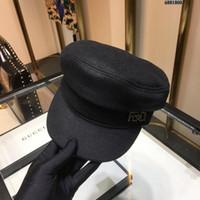 ingrosso signora del cappello del berreto-Berretto da donna di fascia alta da donna Cappellino temperamatite nero in vera pelle 86520