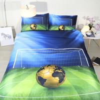 футбольные листы оптовых-3pcs sports bed linens for boys teens galaxy basketball football bedding Full single duvet cover set king size sheets kids