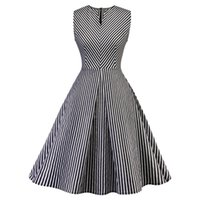 Wholesale rhinestone fitted dress resale online - Women s Mid Calf Casual Dress Cotton Blend V Neck Sleeve Fit Flare Empire Waist Striped Neck Sleeveless Patchwork Midi Dresses Hot Sale