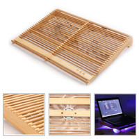 Wholesale Chinese Notebooks - Wholesale-Original Chinese Bamboo Laptop Cooling Pad for 14 inch laptop 2 fans 1 USB LED Notebook Stand Cooler 345x280x55mm