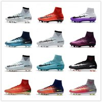 Wholesale Matt Leather - 2017 All Colors Mercurial Superfly V FG Fire Red Soccer Boots for High quality CR7 5 X Fire FG Sports Football Shoes Soccer Cleats EUR 39-45