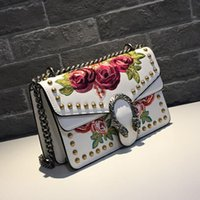Wholesale womens handbag rivets online - Fashion Womens Bags Casual Embroidery Floral Rivets Handbag Clutch Satchel Crossbody Shoulder Bags for Women