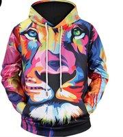 suéter de los hombres de color geométrico al por mayor-Suéter de los bienes de marea primavera y otoño de los hombres de color digital con capucha de impresión geométrica 3DHoodies par original chaqueta