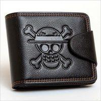 anime skull hat 도매-남자 남자 원피스 Luffy Wallet 원숭이 D Luffy 밀짚 모자 해적 Anime Skull Wallet 지갑 블랙 PU 가죽