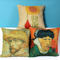 Wholesale bedroom painting portraits for sale - Group buy 3 Styles Vincent van Gogh Self Portrait Cushion Covers Oil Painting Sunflower Art Cushion Cover Linen Pillow Case For Bedroom Sofa Couch