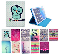 Wholesale ipad owl case online – custom Owl Elephant Flower Pu Leather Wallet Case With Kickstand Flip Back Cover Case for ipad Mini Air Air2