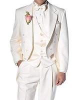 esmoquin delgado moderno al por mayor-Solovedress Slim Fit Men Suit Moderno de 3 piezas por encargo del novio Tuxedos Chaqueta Tux Chaleco Pantalones Set trajes de boda
