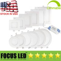 Wholesale off panel online - US Stock Ultrathin W W W W W LED Panel Lights SMD2835 Downlight AC110 V Fixture Ceiling Down Light Warm Cool Natural White K