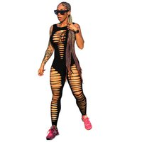 sexy schwarze lochgamaschen großhandel-Loch Aushöhlen Sleeveless Sexy Overall Frauen Open Back Backless Schwarz Bodycon Sportbekleidung Leggings Fitness Workout Overall