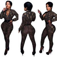 Wholesale Black Gauze Pants - New printing casual women Jumpsuits & Rompers Sexy Club Slim Bodysuit bodycon gauze digital deep V long-sleeved piece pants