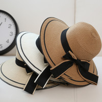 sombrero de visera de ala grande al por mayor-Sombrero Sun Big Big Bow Negro Sombreros de Verano para Padres e Hijos Plegable Straw Beach Sombrero de Panamá Visor Wide Brim Femme Mujer